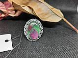 Рубин в породе цоизит кольцо овал с рубином 17,7 размер природный рубин в серебре Индия, фото 3