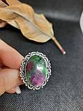 Рубин в породе цоизит кольцо овал с рубином 17,7 размер природный рубин в серебре Индия, фото 5