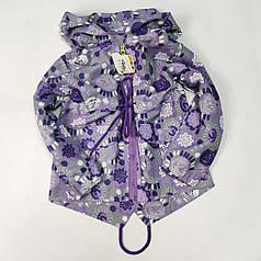 Детская куртка ветровка для девочки фиолетовая цветы 6-7 лет
