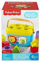 Дитячий Ігровий Розвиваючий Сортер Логіка Перші кубики для малюків з левеням блакитний 10 штук Fisher-Price
