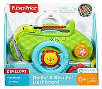 Детская Обучающая Развивающая Игрушка Руль Львенок с музыкой с креплением для коляски зеленый Fisher-Price