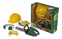 Дитячий Ігровий Безпечний Набір інструментів з бензопилою, каскою, рукавицями, окулярами Bosh Klein Кляин