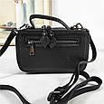 Небольшая сумка чемоданчик на молнии принт спереди / натуральная кожа (кт-985) Черный, фото 6