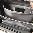 Небольшая сумка чемоданчик на молнии принт спереди / натуральная кожа (кт-985) Черный, фото 7