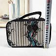 Небольшая сумка чемоданчик на молнии принт спереди / натуральная кожа (кт-985) Черный, фото 3