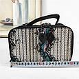 Небольшая сумка чемоданчик на молнии принт спереди / натуральная кожа (кт-985) Черный, фото 2
