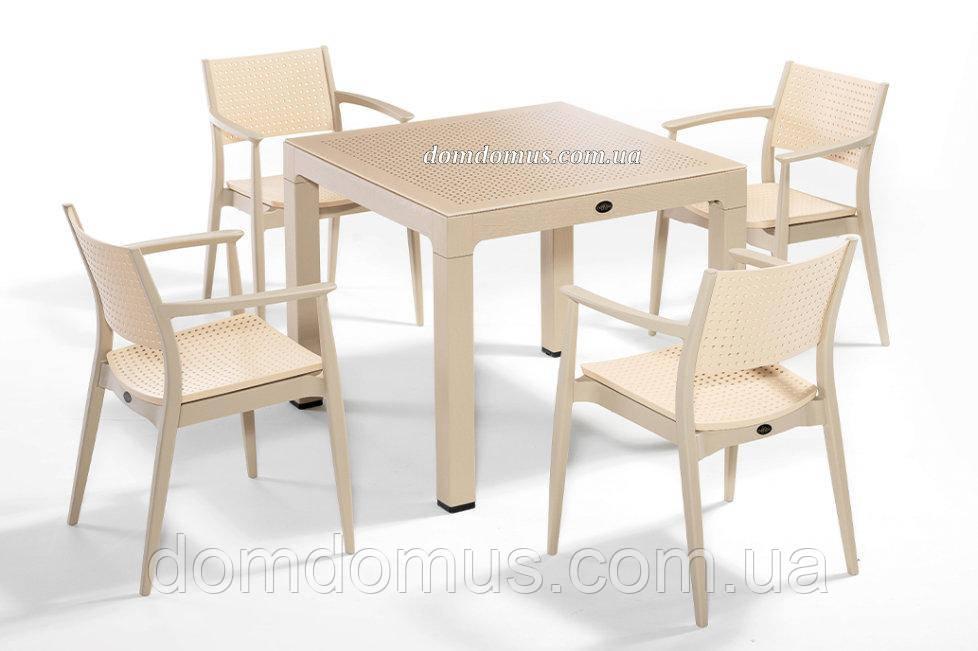 """Комплект высококачественной мебели """"SEGINUS FOR 4 """"   (стол 90*90, 4 кресла) Novussi, Турция"""