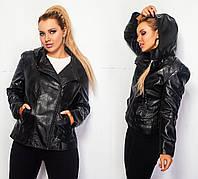 Куртка трансформер демисезонная Tailis экокожа чёрная 5909