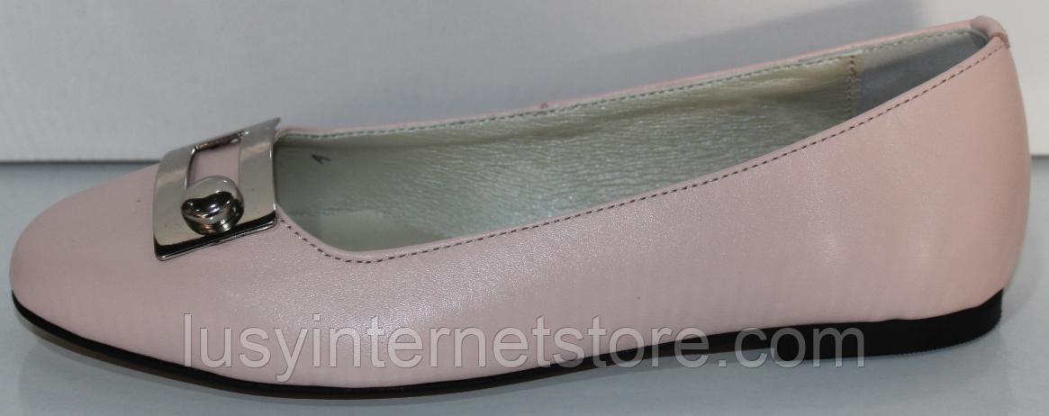 Балетки рожеві шкіряні від виробника модель КЛ2168