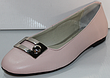 Балетки рожеві шкіряні від виробника модель КЛ2168, фото 2