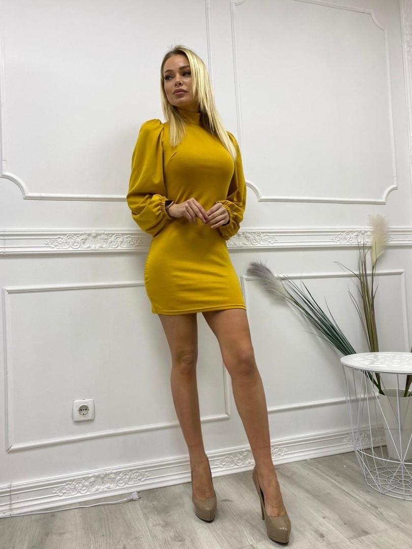 Шикарное платье с длинным рукавом из мягкого трикотажа, 4цвета , р-р. 42-44,44-46  Код 4022Ж