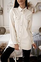 Рубашка женская с длинным рукавом и накладными карманами , 2цвета ( р-р. 42,44,46,48)  Код 5126Ж