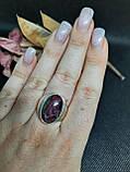 Рубин в породе цоизит кольцо овал с рубином 18,8 размер природный рубин в серебре Индия, фото 4