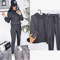 Женский однотонный спортивный костюм с капюшоном 42 44 46 черный графит бежевый