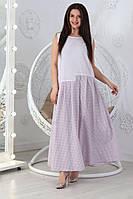 Женское легкое летнее платье сарафан вставки клетки 48-50 52-54 56-58 60-62