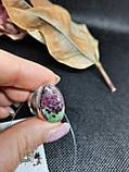 Рубин в породе цоизит кольцо капля с рубином 19,3 размер природный рубин в серебре Индия, фото 3
