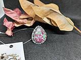 Рубин в породе цоизит кольцо капля с рубином 17 размер природный рубин в серебре Индия, фото 4