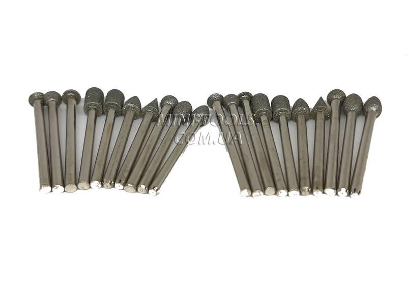 Набір алмазних борфрез 20 шт. Хвостовик 3 мм, фото 2