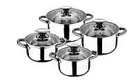 Набор посуды кастрюли с крышками из нержавеющей стали 8 предметов RB-2330 Renberg