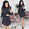 Сукня жіноча в смужку з об'ємними рукавами (3 кольори) ЕФ/-518 - Чорний