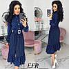 Стильне жіноче плаття з поясом (4 кольори) ЕФ/-511 - Темно-синій