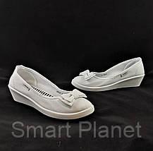 Женские Мокасины Белые Балетки Туфли на Танкетке (размеры: 37), фото 2