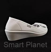 Женские Мокасины Белые Балетки Туфли на Танкетке (размеры: 37), фото 3
