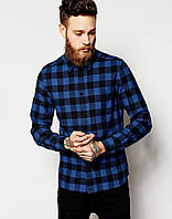 Мужская рубашка D-Struct (by Bellfield) - Alaska Flannel Check Shirt Blue (чоловіча сорочка)