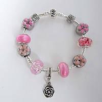 Женский розовый браслет Pandora (Пандора) с цветочками