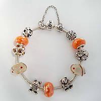 Женский браслет Pandora (Пандора) золотистый с цепочкой, фото 1
