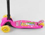 Самокат трехколесный детский складной руль светящиеся колеса принт розовый Best Scooter Maxi 20847, фото 3