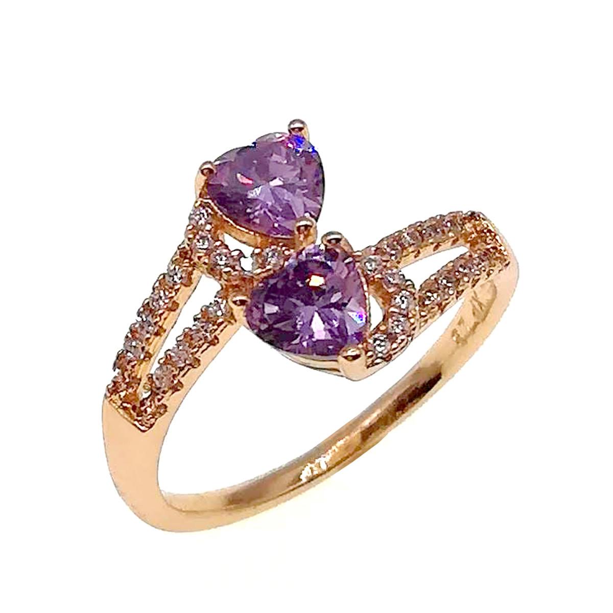 Кільце Xuping з медичного золота, фіолетові фіаніти, позолота 18K, 11823 (Безрозмірна)