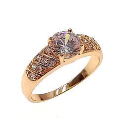 Кольцо Xuping из медицинского золота, белые фианиты, позолота 18K, 11773       (20)
