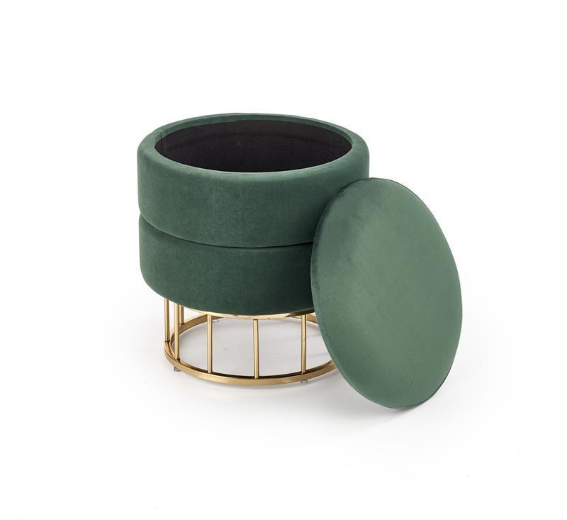 Пуф MINTY темно-зелений/золотий з нішею (Halmar)