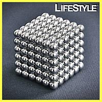 Игрушка-головоломка Неокуб Neocube. Конструктор из 216 магнитных шариков 5 мм (никель)