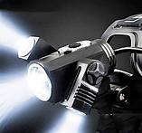 Фонарик налобный W602 на 3 диода (поворотные) + Авто зарядка, фото 7