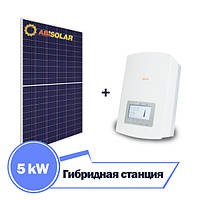 Гибридная станция 5 кВт на Solis RHI-5K + ABi-Solar АВ330