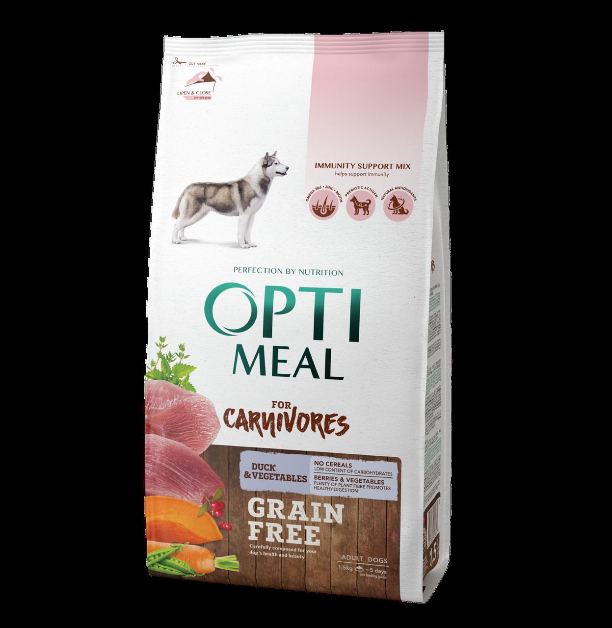 Сухой беззерновой корм для взрослых собак всех пород Утка и овощи 1,5 кг OPTIMEAL ОПТИМИЛ