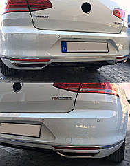 Накладки на задній бампер (імітація вихлопу) VW Passat B8
