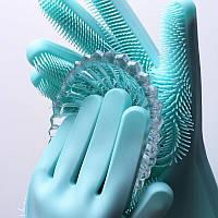 Силиконовые перчатки для мытья посуды (голубой)