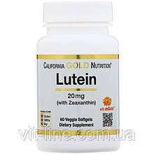 Лютеин с зеаксантином California Gold Nutrition, 20 мг, 60 растительных мягких таблеток