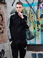Спортивный костюм мужской весенний-осенний Adidas черный. Живое фото