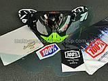 Очки кроссовые со сменным стеклом + защитная пленка 1шт + набор для ухода. Черно-салатовые (зеркальное стекло), фото 2