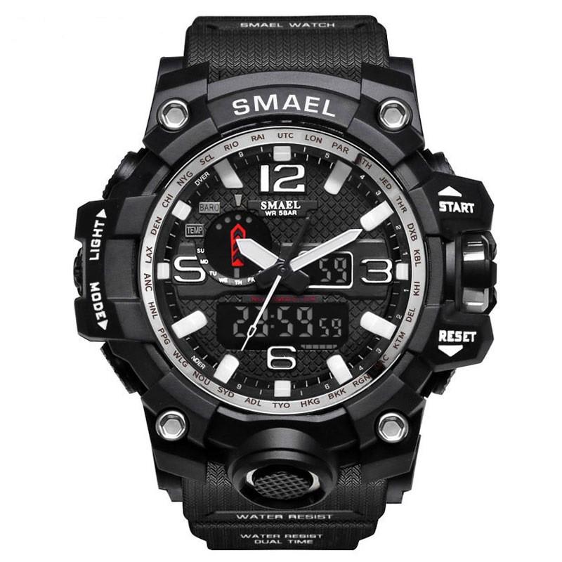 Smael 1545 чорні з білим чоловічі спортивні годинник