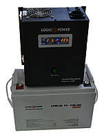 Комплект резервного питания ИБП Logicpower LPY-W-PSW-500 + АКБ LP-GL100 для 7-12ч работы газового котла, фото 1