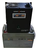 Комплект резервного питания ИБП Logicpower LPY-W-PSW-500 + АКБ LP-MG100 для 7-12ч работы газового котла, фото 1