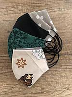 Многоразовые защитные двошаровые маски из дышащей хлопковой ткани на резинках