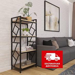 Стеллаж металлический на четыре полки в стиле loft серии Ромбо Металл-Дизайн, фото 2
