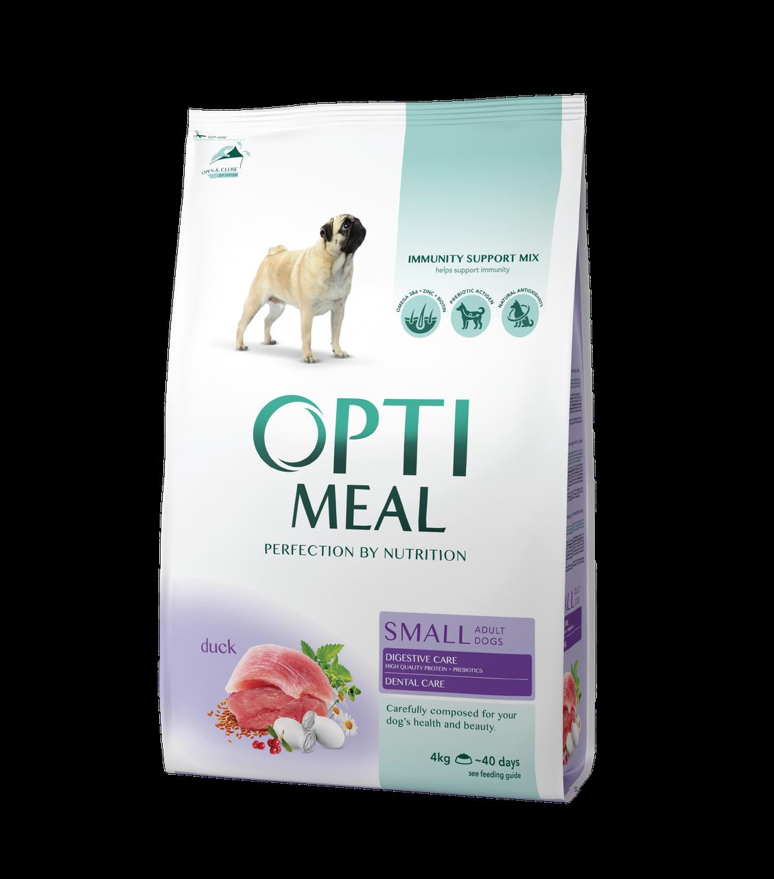Сухой корм для взрослых собак малых пород Утка 4 кг OPTIMEAL ОПТИМИЛ