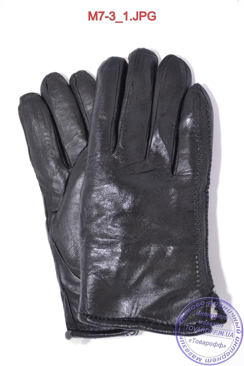 Оптом мужские кожаные перчатки зимние на меху (шерсть) - №M7-3